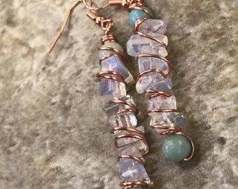 Opalite and Amazonite Gemstone Earrings