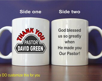 Personalized Pastor Mug Gift - Gifts for Pastor from Church - Pastor Birthday Gift - Fathers Day Gift, MST013