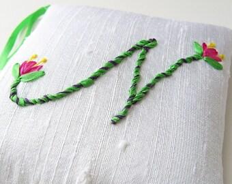 Letter N personalized lavender sachet, silk ribbon embroidery initial, hanging monogram sachet, closet freshener