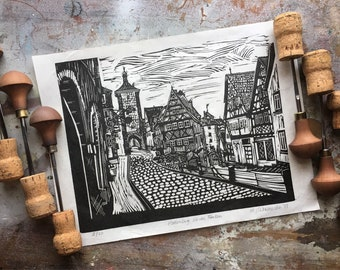 Rothenburg ob der Tauber - Romantic Road - Bavaria, Germany  - Linocut Hand Pressed Print - Travel Diary Series