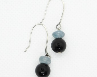 Kyanite and Onyx Earrings_Hand Hammered Silver Earwires_Natural Stone Earrings_Psychic Ability_Inner Strength_