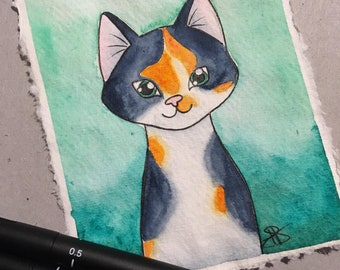 Custom Pet Portrait - Cat - Dog - Original Water Colour Painting