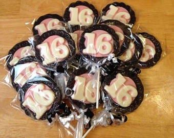 Sweet 16 Chocolate Lollipops