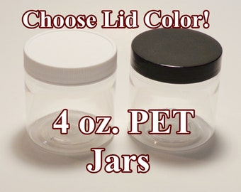 4 oz. PET Jars - SET of 10 (Clear + choice of lid color)