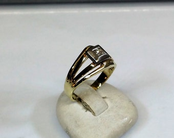 Ring yellow gold white gold 585 diamond vintage GR225