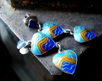 Vintage Blue and Orange Enamel Ocean Wave Heart Pierced Earrings