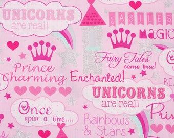 Glitter Unicorns Rainbow Princess  Fabric by Timeless Treasures Fabrics by the Half Yard