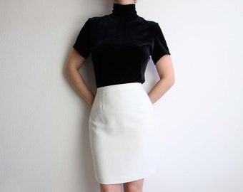 VINTAGE Black Velvet Blouse Mock Neck Top 1990s Shortsleeve Shirt Small Medium