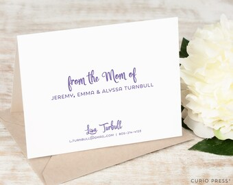 Personalized Note Folded Card Set / Stationery / Stationary Notecards for Mom / From the Mom of // CUTIE MOMMA FOLDED