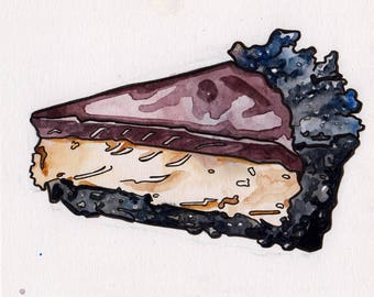 Watercolor and Ink Painting of a Peanut Butter Pie - Original Food Illustration by Jen Tracy - Kitchen Decor Dessert Painting - Pie Art