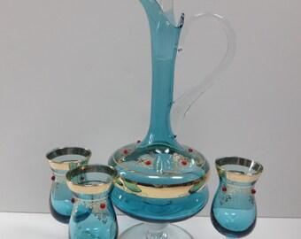 Blue Glass Decanter Set, Blue Glass Wine Decanter Set, Blue Glass Wine Carafe Set, Wine Decanter Set, Wine Carafe Set, Bohemian Decor, Wine
