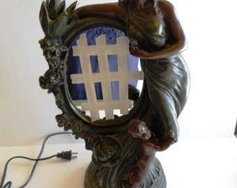 Antique Art Nouveau Lady Bronze Metal Lighted Vanity Mirror Mother and Child Marked Corsa 1995