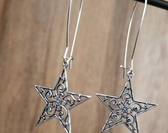 Silver Antique Filigree Star, Drop Earring