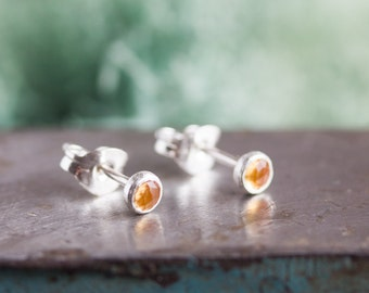 Golden Citrine stud earrings, November birthstone, 3mm or 5mm, sterling silver or 14k gold filled