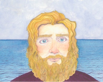 Man And The Sea Indie Art Original Watercolour Painting