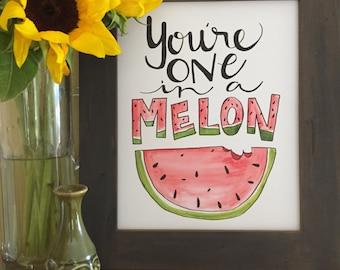 Kitchen Art, Fruit Art, Watermelon Art, Watermelon Collection, One in a Melon, Handmade Watercolor Art Print