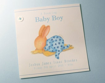Personalised New Baby Boy Card – Sleeping Bobby - Bobby Bunny & Friends Illustrated Luxury Card Range byJennifer Keelan