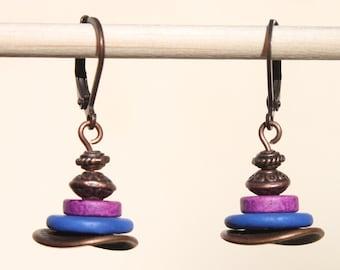 Ceramic Earrings Dangle Earrings Drop Earrings Copper Earrings Boho Chic Earrings Small Everyday Earrings Gift for women Gift For Her