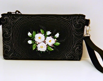 Ribbon Embroidered Clutch Black Quilted Evening Wristlet with Hand Embroidery White Roses Beaded Cosmetic Bag Zippered Make Up Bag OOAK