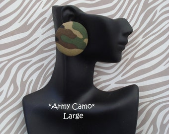 Green army camo camoflauge fabric cover button earrings