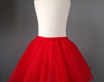 Girls Red tutu-valentines tutu- red tulle skirt- any size toddler and up-very full