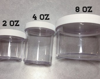 2/4/8 oz Containers ~Slime Containers~Replacement Container~Clear Container