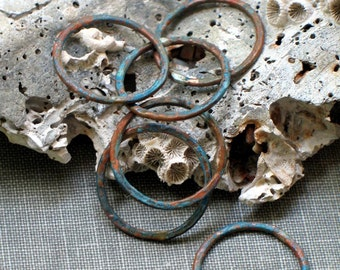 "5/8"" aqua circles- small verdigris connectors, turquoise links, copper findings, green patina, verdigris components, verdigris findings"