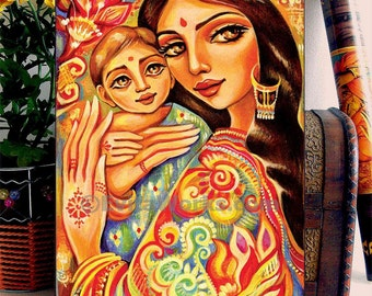 Mother and child painting, nursery art, ethnic painting, Indian woman, home decor wall decor woman art, ACEO wood block, CG