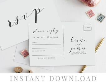 Rsvp Postcard Printable INSTANT DOWNLOAD, Wedding Rsvp Card DIY Printable Invitation, Templett, Editable pdf, Rustic Invites, Blissa