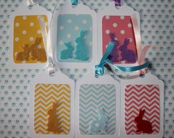Set of 6 Easter tags hand made felt and cardboard