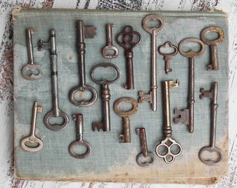 Vintage Key Collection Photographic Print Skeleton Key Photo Antique Key Collection Rustic Wall Art Old Keys Farmhouse clef andienne Key Art