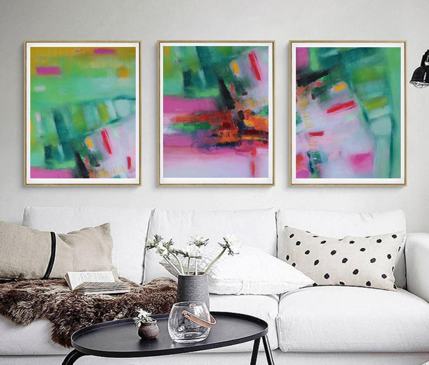 Rosa Triptychon abstrakt moderne Malerei Pastell abstrakt