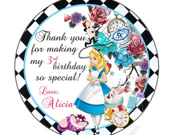 """Alice in Wonderland Personalized Thank you Tags- 2.5"""" Printable Tags- Custom Alice in Wonderland DIY Circle Tags- YOU PRINT-Digital file"""