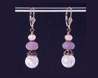 Crackle Quartz earrings with Rose Quartz, Purple Quartz, and Sterling Silver lever backs