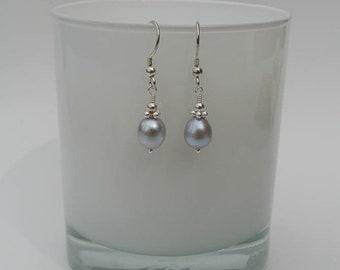 """Silver Grey Freshwater Pearl Drop Earrings - Sterling Silver Earrings with Silver Grey Pearl Drops - """"Emma"""" Silver Pearl Earrings"""
