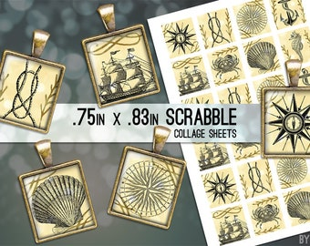 Nautical Ocean Sea Digital Collage Sheet Scrabble Tile .75x.83 Images 4x6 8.5x11 Download Sheets for Glass Resin Pendants