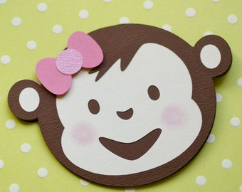 Mod Monkey Inspired Die Cut Invitations - set of 12