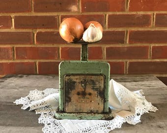 Antique home kitchen scales vintage weigthing scales green rusty scales retro restaurant decor shop display England Rustic decor Industrial
