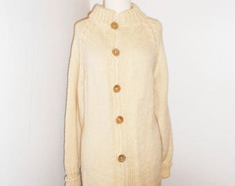 Vintage Wool Long Sleeves Coat W/ Wooden Buttons keLXCEtH