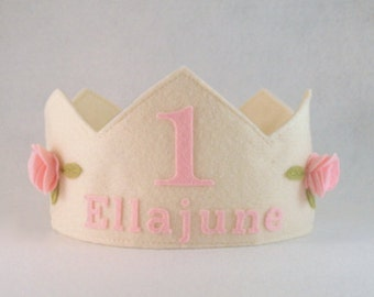 Felt Crown with Roses, Birthday Crown,  Personalized Crown, First Birthday, Photo Prop, Smash Cake