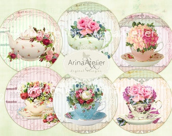 Vintage Tea Cup Flower - Circle microslides - 2 inch circles - digital collage sheet - pocket mirrors, tags, scrapbooking, cupcake toppers