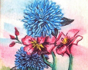 Glossy photographic Print of Four Flowers ACEO original water color and ink