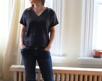 VNeck Linen Tshirt Softwashed