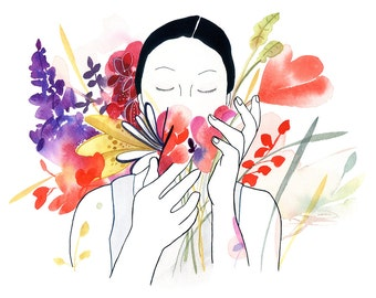 CreativeIngrid. Watercolor Floral. Gift for Girl. Print Wall Art. Botanical Artwork Print. Flowers Decor Print. Watercolor Painting Artwork.