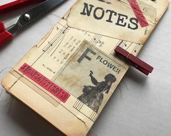 Vintage Style Jotter/Notepad . Small Notebook . Desktop or Purse . Small Junk Journal . Vintage Papers/Embellishments . File Folder Journal
