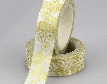 Gold Leaf and Gold Flower Washi Tape (2C-37)
