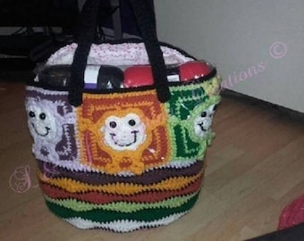 Large Crocheted Frog Tote Bag