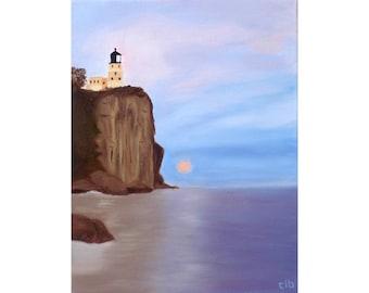 Lighthouse Painting, 11 x 14, Oil Painting, Original Art, Landscape Painting, Minnesota Painting, Lake Superior Art, Split Rock Lighthouse