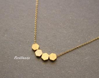 Brushed Finish Tiny Hexagon necklace, Geometric necklace, Everyday necklace, Bridesmaid gift, Wedding necklace