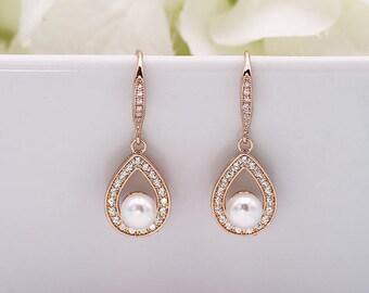 Pearl CZ Earrings, pearl bridal earrings, cubic zirconia earrings, wedding jewelry, wedding earrings, Cecelia Rose Gold Earrings